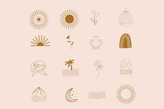 Collection line boho design with sun mountain