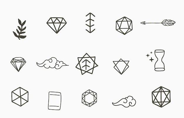 Collection of line design with geometric,shape.editable vector illustration for website, sticker, tattoo,icon