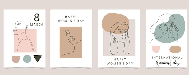 Collection of line design with geometric, woman. 8 march, international women's day
