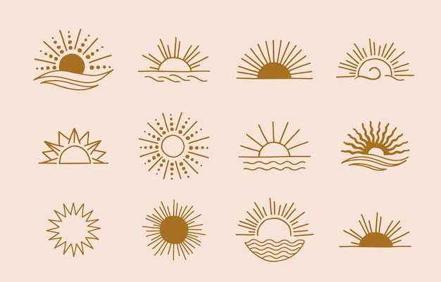Collection of line design with sun design