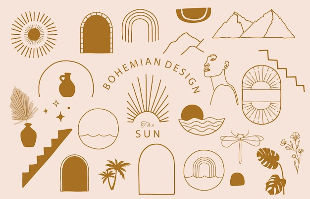 Collection of line design with sun,mountain.