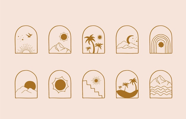 Collection of line design with sun,sea,wave