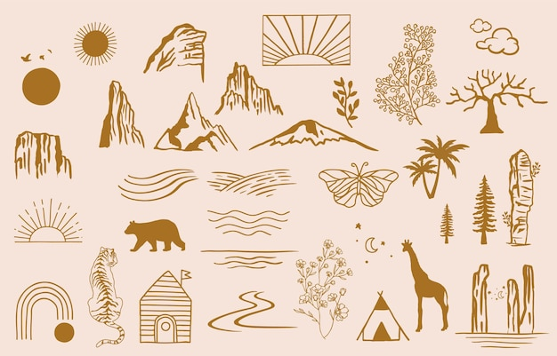 Collection of line design with sunseawaveeditable vector illustration for website sticker tattooicon