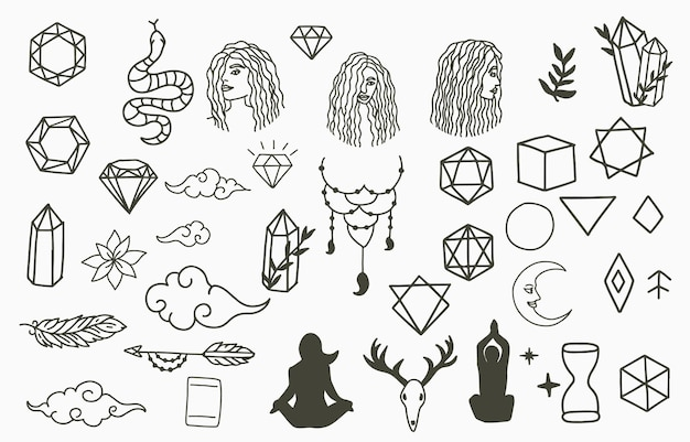 Collection of line design with woman,crystal,moon.editable vector illustration for website, sticker, tattoo,icon
