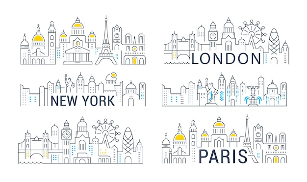 Collection of linear banners of paris, london and new york.