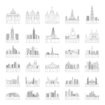 Collection of linear city skylines of different countries.