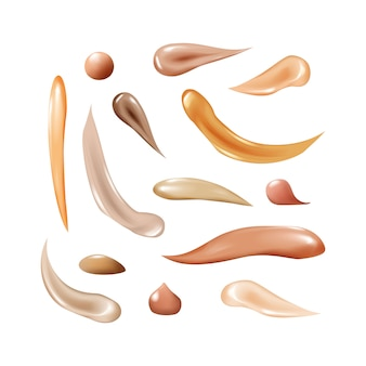 Collection of liquid foundation, osmetic concealer smear strokes, tone cream smudged isolated texture on white background.