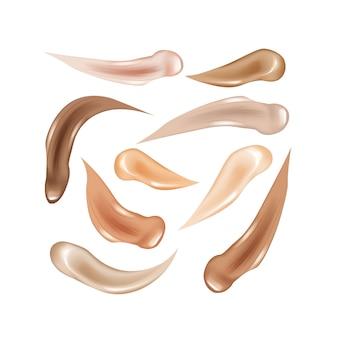 Collection of liquid foundation,ãƒâƒã'âƒãƒâ'ã'â'ãƒâƒã'â'ãƒâ'ã'âosmetic concealer smear strokes.