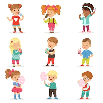 Collection of little boys and girls in stylish clothes. cartoon character   illustration.