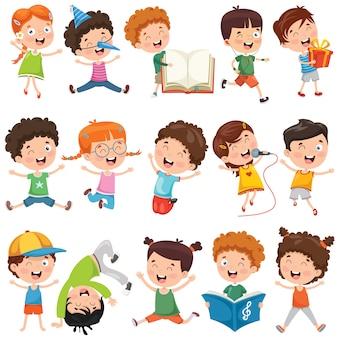 Collection of little cartoon children