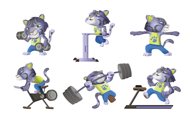 Collection of little snow leopard goes in for sports. cute leopard lifts dumbbells, barbell, runs on a treadmill, on a bike, push-ups. workout cartoon character illustration