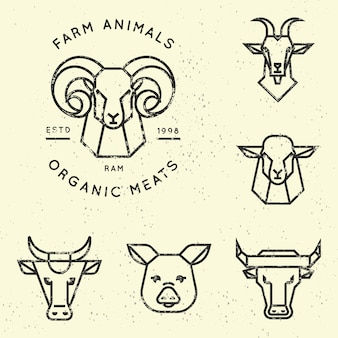 Collection of logo for farm animals in linear style