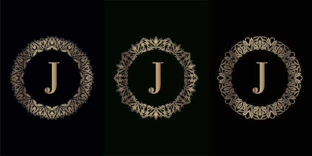 Collection of logo initial j with luxury mandala ornament fram