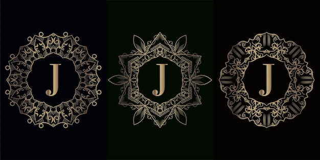 Collection of logo initial j with luxury mandala ornament frame