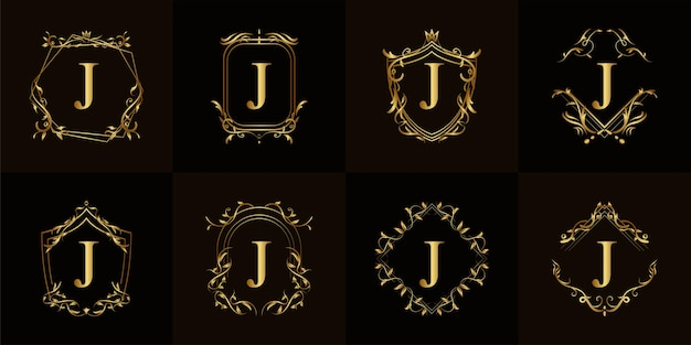 Collection of logo initial j with luxury ornament or flower frame