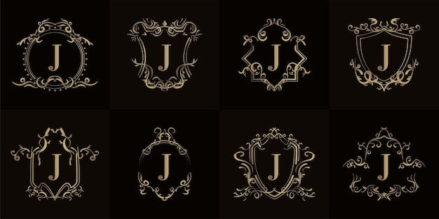 Collection of logo initial j with luxury ornament