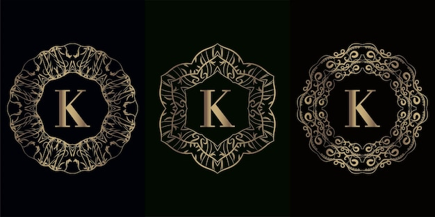 Collection of logo initial k with luxury mandala ornament frame