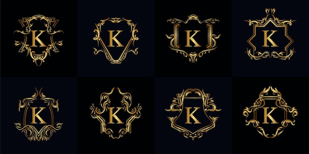Collection of logo initial k with luxury ornament or flower frame