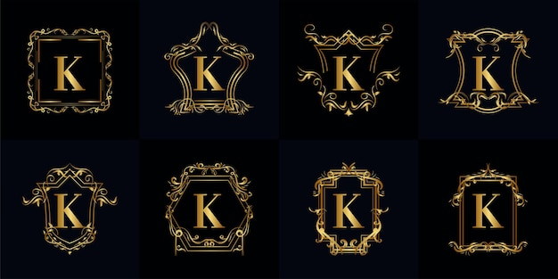 Collection of logo initial k with luxury ornament