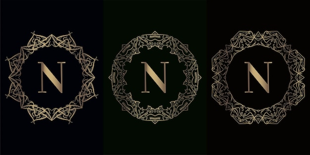 Collection of logo initial n with luxury mandala ornament frame