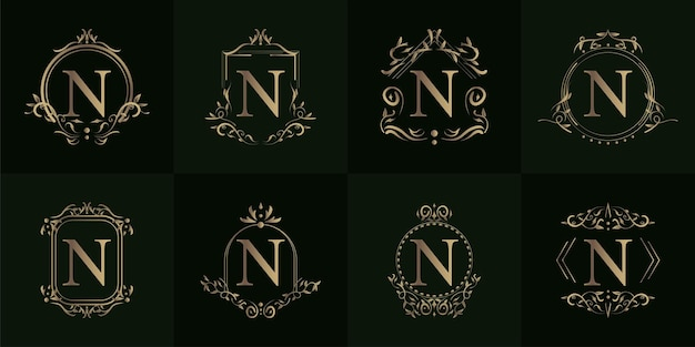 Collection of logo initial n with luxury ornament or flower frame