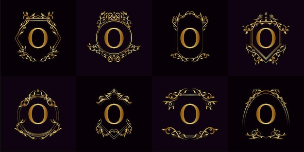 Collection of logo initial o with luxury ornament or flower frame