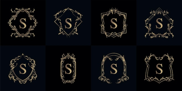 Collection of logo initial s with luxury ornament or flower frame