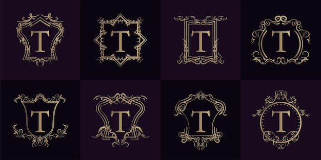 Collection of logo initial t with luxury ornament or flower frame