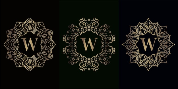 Collection of logo initial w with luxury mandala ornament frame