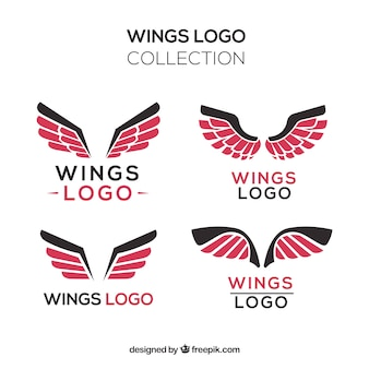 Collection of logos of black and red wings