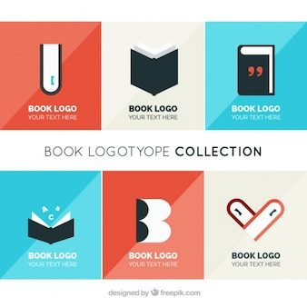 Collection of logos of books in flat design