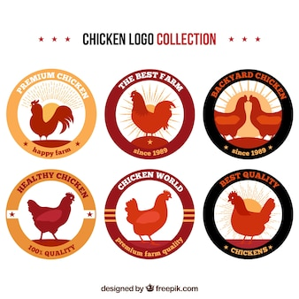 Collection of logos of hens in vintage style