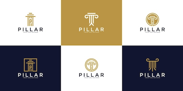 A collection of logos, the pillars of the legal justice building