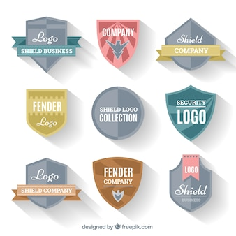 Collection of logos shields in flat design