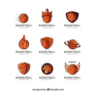 Collection of logos with basketball
