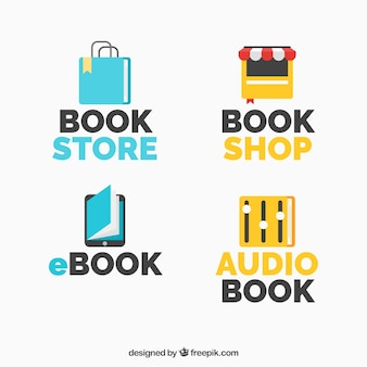 Collection of logos with books for different businesses