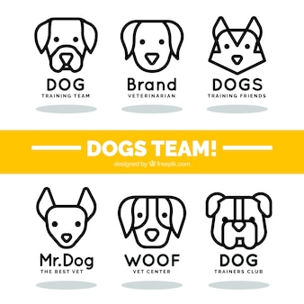 Collection of logos with linear dogs