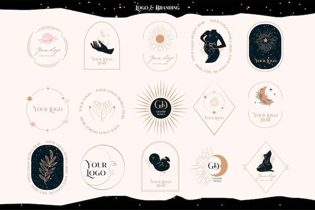 Collection of logos with mystical, astrology elements, pregnant woman, baby, sun and moon. branding collection.