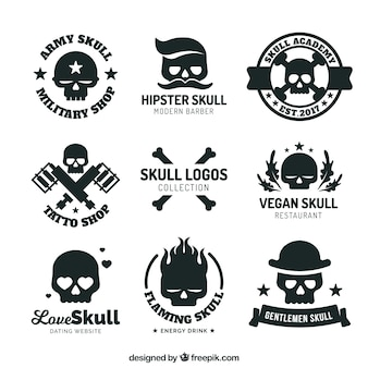 Collection of logos with skulls