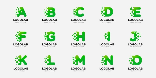 Collection logotype letter or initial with dot and molecule concept logo template.