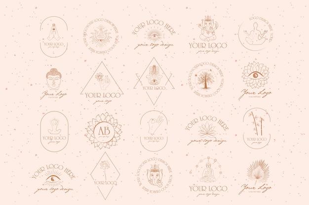 불교 및 힌두교 요가 개체의 컬렉션 로고