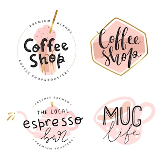 Collection of  logotypes for cafe of coffee shop