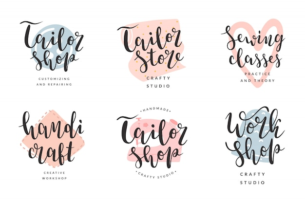 Collection of logotypes for tailor shop and workshop