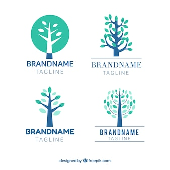 Collection of logotypes with trees