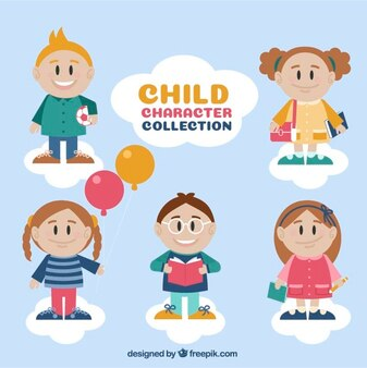 Collection of lovable children with elements