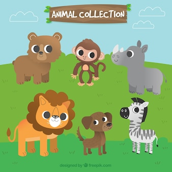 Collection of lovely animal characters