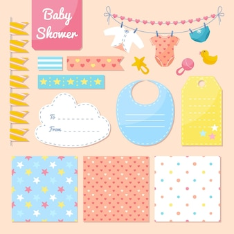 Raccolta di elementi di scrapbook bella baby shower