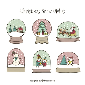 Collection of lovely hand drawn christmas balls