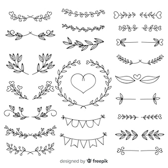 Collection of lovely hand drawn wedding ornaments