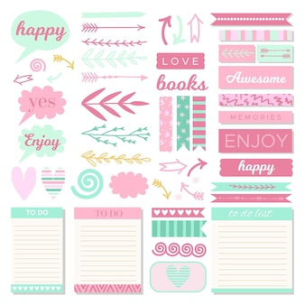Collection of lovely planner scrapbook elements